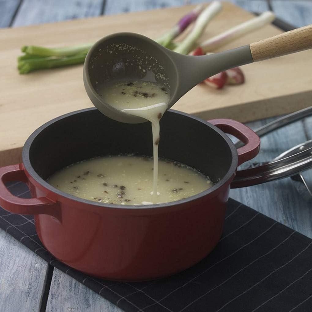 Fangfeen Soupe Spatule en Bois Louche Slotted Outil de Cuisine en Bois Silicone Pelle cuill/ère antiadh/ésif Accueil Cuisine Outils de Cuisine