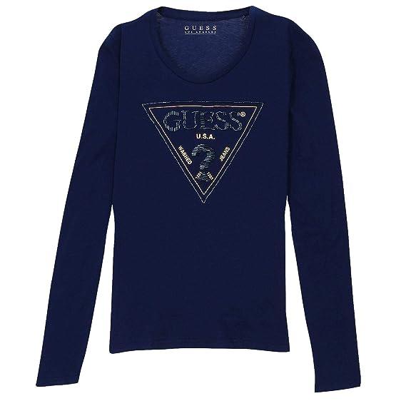 5dbbb8e3174a Guess Triangle Tee, Long Sleeve T-Shirt for Women: Amazon.co.uk: Clothing