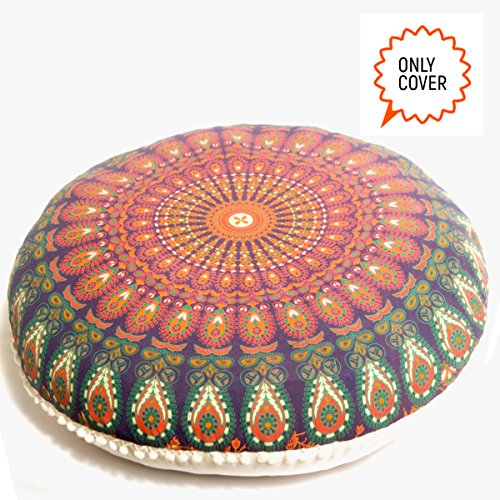 Bohemian Decor Floor Cushion Cover - 30 inches - Round Floor Pillow Pouf Cover - Colorful Orange 100% Hand Printed Organic Cotton by Mandala Life ART