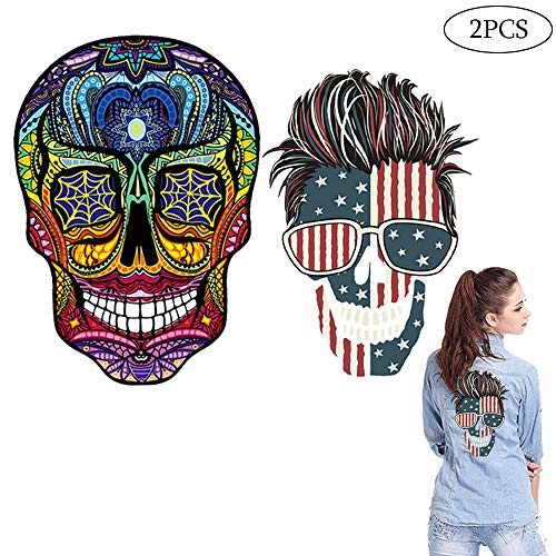 America Flag Patches 4th of July Independence Day Decor Skull Decals Heat Transfer Stickers American Appliques Colorful Sew on T-Shirt Jeans for Men Women Kids Clothing Home Textiles DIY 2PCS Large -