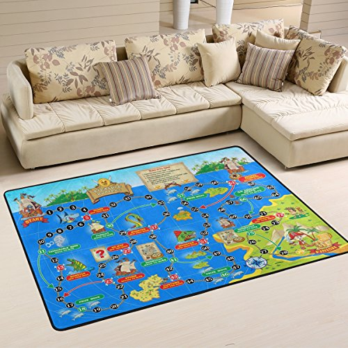 Funny World Map Treasure Hunters Board Game with Marine Monster Animals for Children Area Rugs Pad Non-Slip Kitchen Mat for Living Room Bedroom 5' x 7' Doormats Home Decor by Naanle