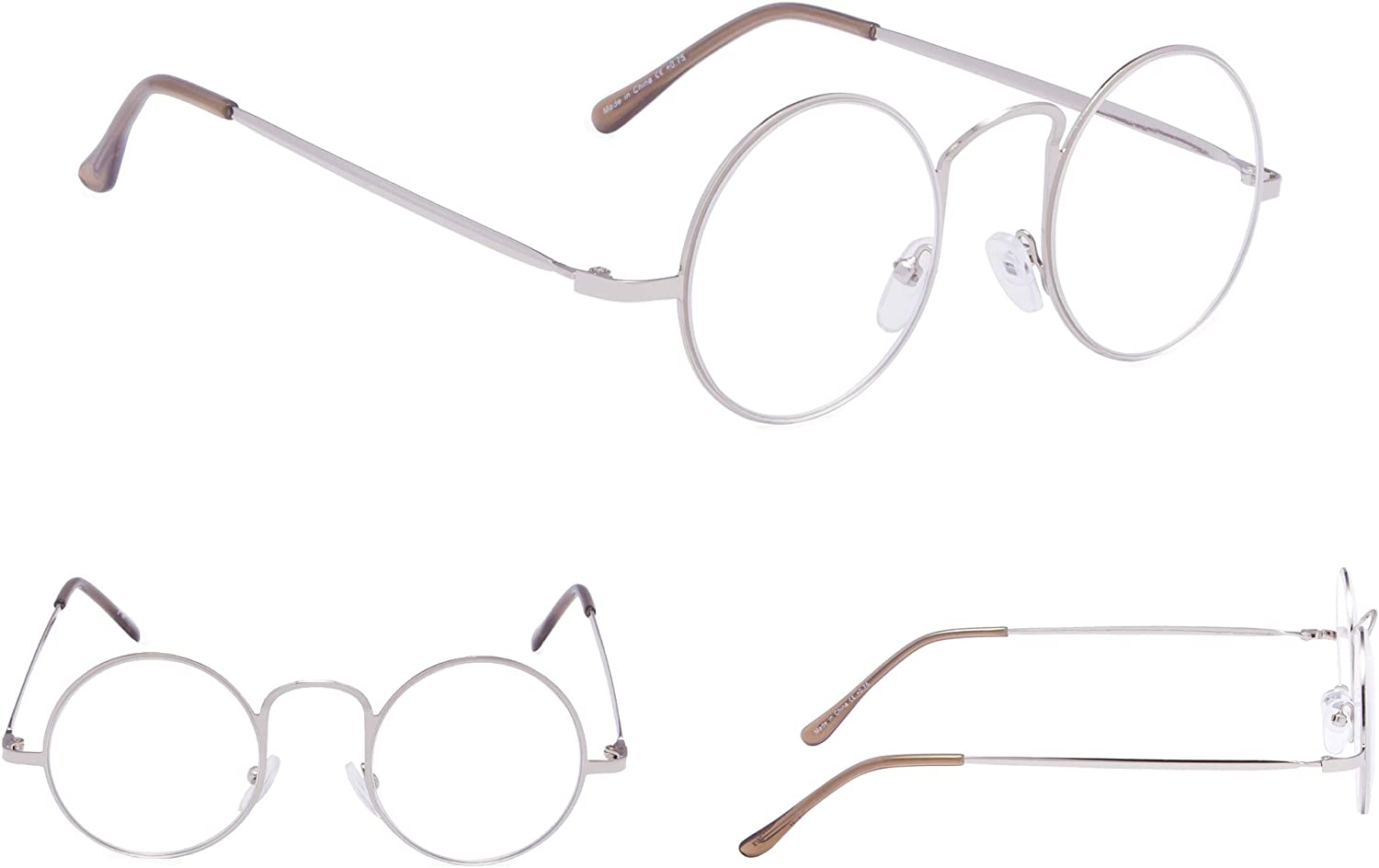 4-pack Reading Glasses with Round Metal Circle Frame for Women and Men Readers