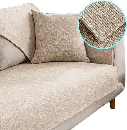 Z-one Sabana de Algodon Funda para sofá Seccional Multi-Size Cubre sofá Antideslizante Color Puro Protector del sofá Mascotas Perro Se Vende por Separado-Beige 70x150cm(28x59inch): Amazon.es: Hogar
