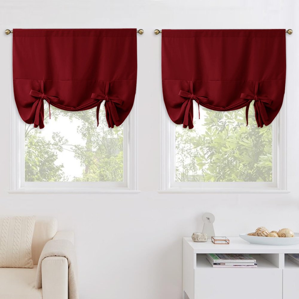 NICETOWN Burgundy Tie Up Shades - Soft & Sturdy Window Treatment Balloon Valance Drapes for Bathroom Window (1 Pair, Rod Pocket Panel, 46'' W x 63'' L)