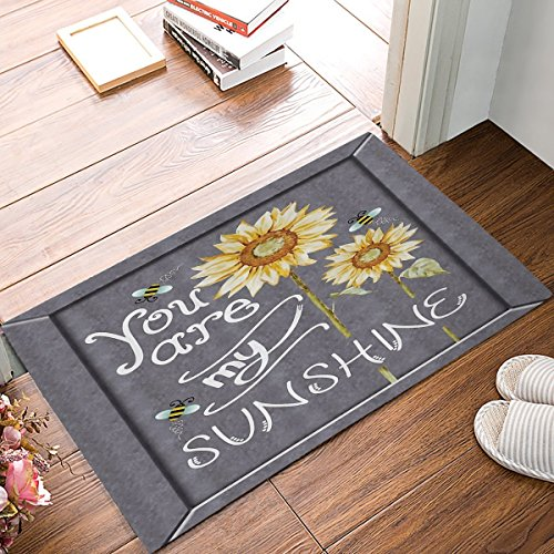 wenhuamucai You are My Sunshine Quote on a Black Board with Bees and Sunflowers Doormat Welcome Mat Entrance Mat Indoor Door Mats Floor Mat Bath Mat 16W X 24H - 24h Sunflowers