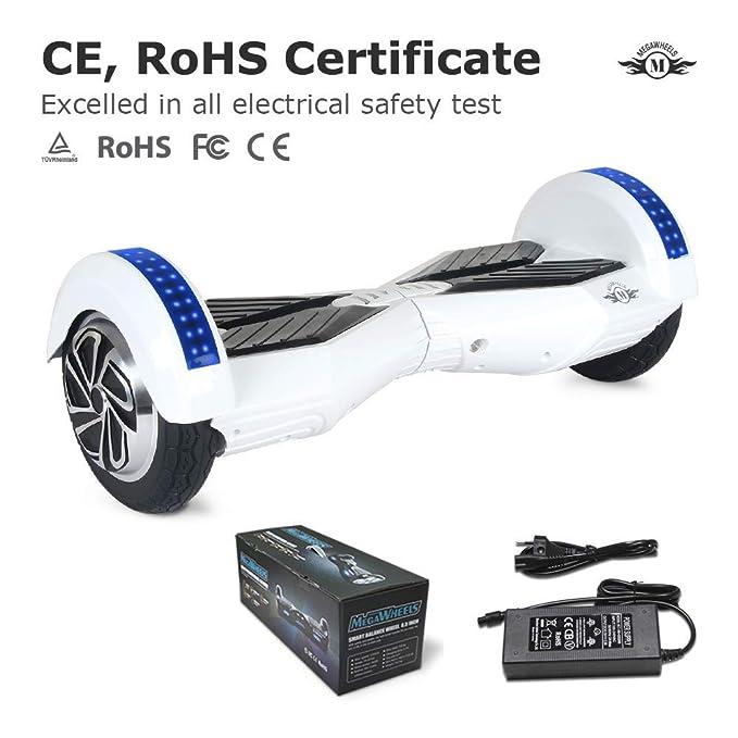 Cool&Fun Patinete Eléctrico Scooter Auto-Equilibrio 2 Ruedas 8 Pulgadas LED Bluetooth(Blanco Azul)
