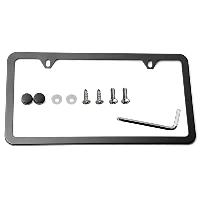 LFPartS UV Resistant Slim Style Stainless Steel License Plate Frame Black New 2 Hole: Automotive