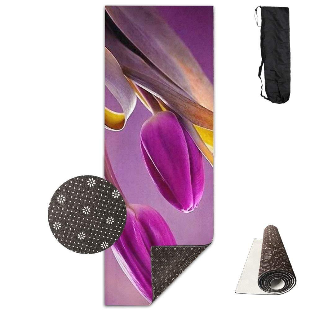 Purple Tulips Flowers Amazing Deluxe,Yoga Mat Aerobic Exercise Pilates Anti-slip Gymnastics Mats