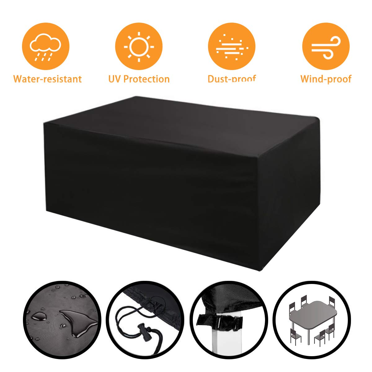 for Sofas and Chairs Patio Furniture Covers Waterproof - Black 240x160x100cm PVC NASUM Garden Furniture Covers Furniture Cover Rectangular//Oval Cover Windproof and Anti-UV