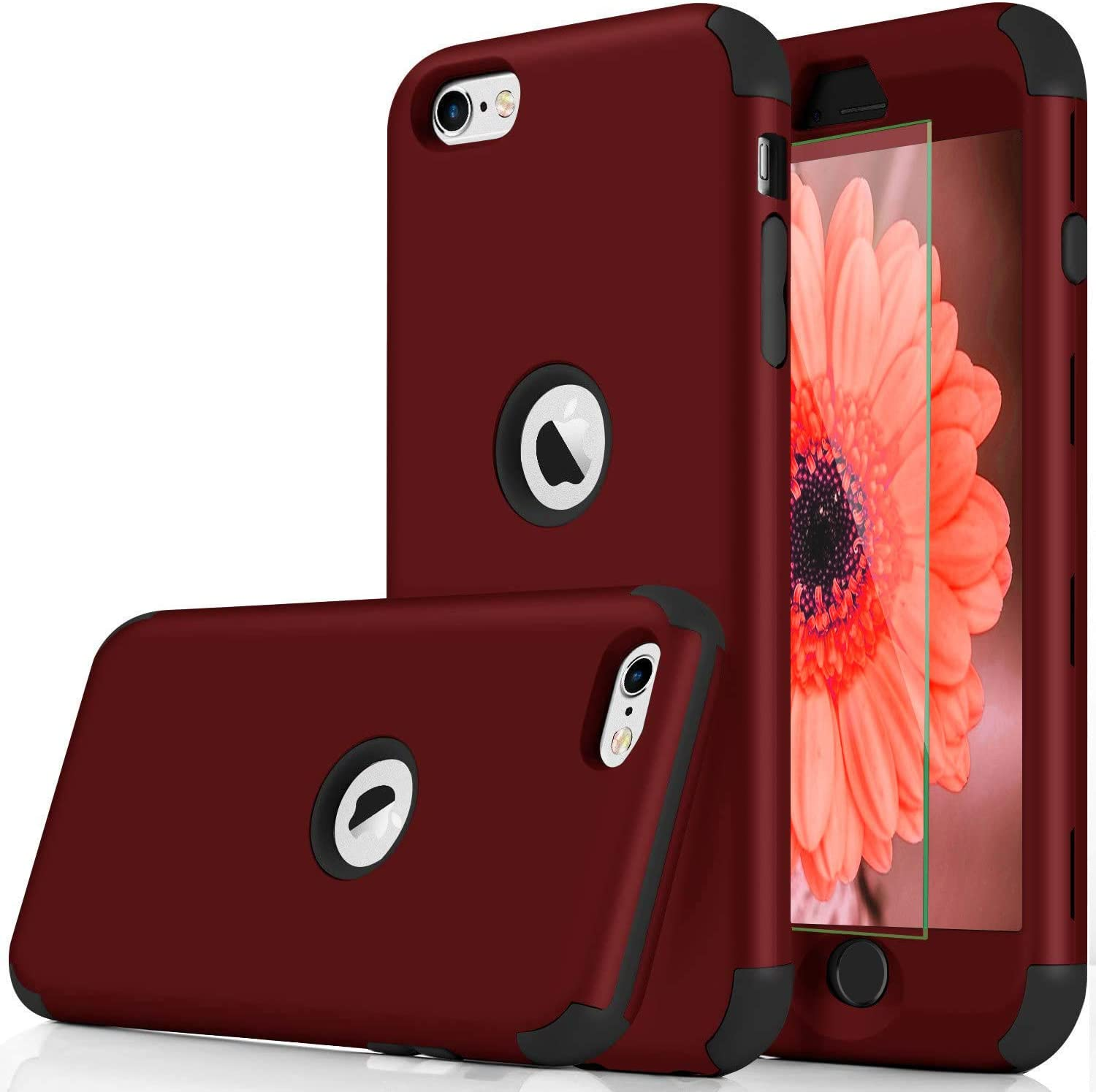 DUDETOP Compatible for iPhone SE 2020 Case,3-in-1 360 Full Body Shockproof Armor Protective Cover Design with Tempered Glass Screen Protector for Apple iPhone SE 2020 (Red)