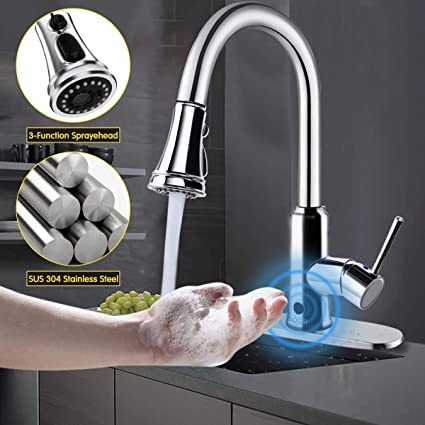 Kitchen Faucet,SOOSI Hand-Free Wave Sensor Single Lever Kitchen Sink  Faucets Lead-free Kitchen Faucets with Pull Down Sprayer Polished Chrome  One ...