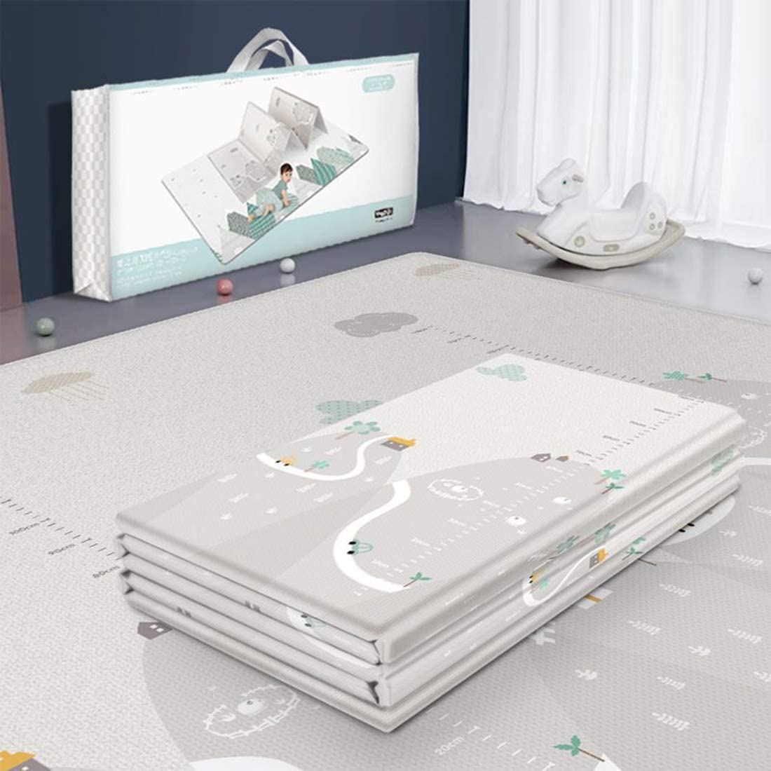POXL Alfombra de Juegos Bebé Grande, Portable Alfombra Bebe Gateo Alfombra Alfombra Acolchada Antideslizante, 200 x 180cm