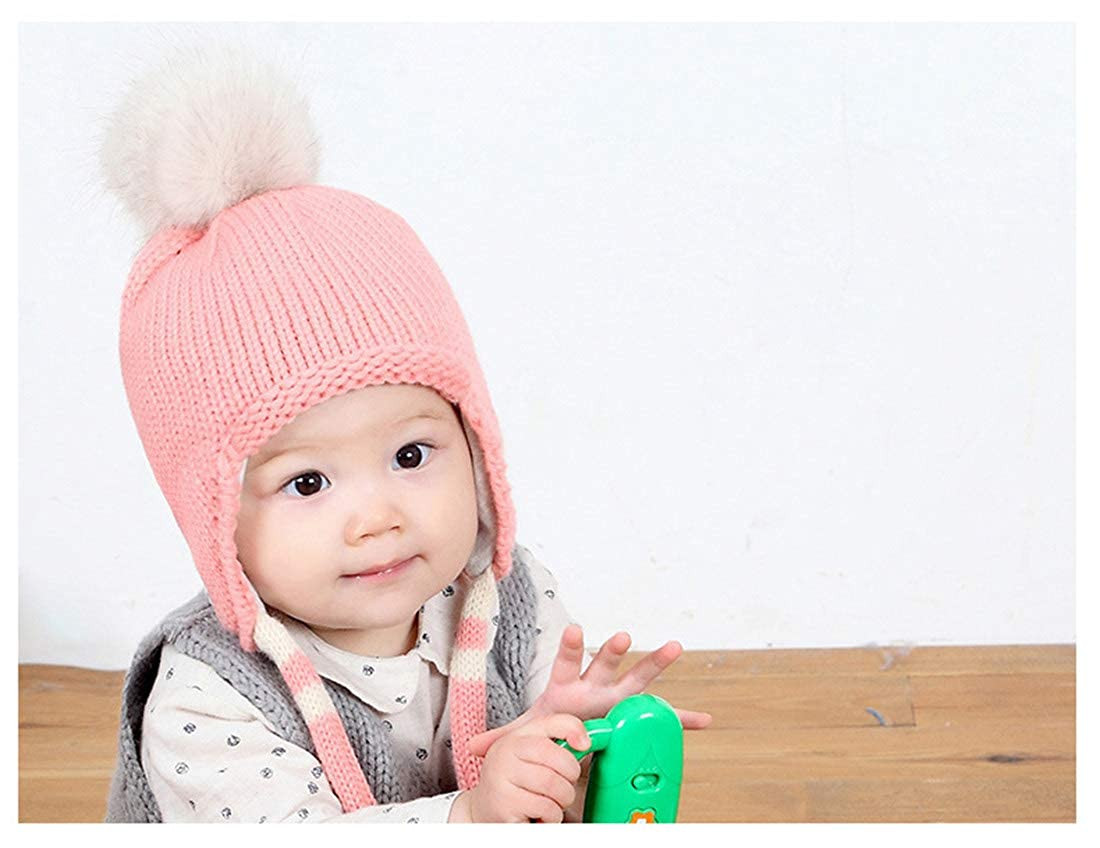 2 Years Old Babys Hat Winter Big Pom Pom Ball Wool Hats Plus Cotton Earmuffs Baby Girls Ear Flap Caps Skullies Beanies Baby Hats Caps Pink 6 Months