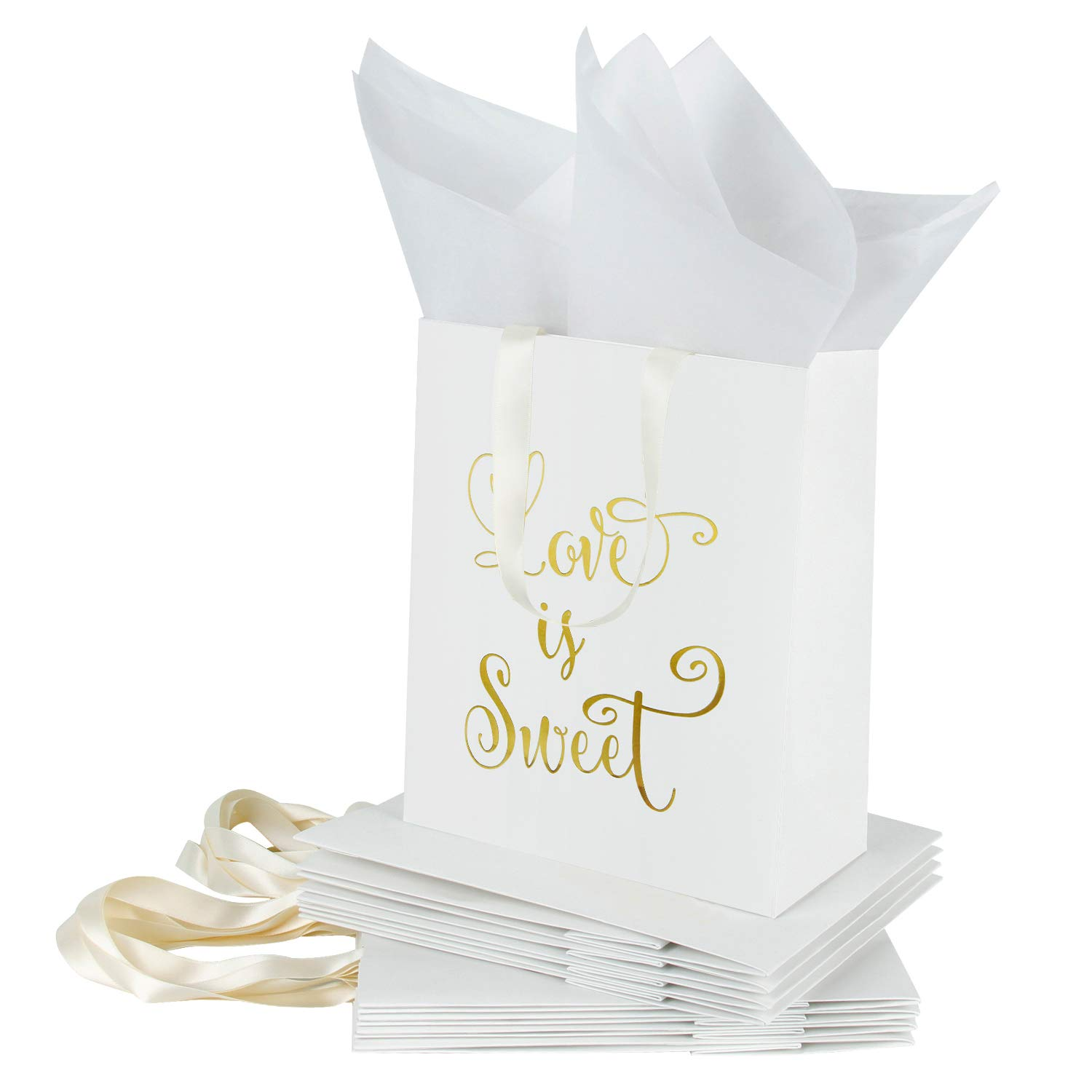 Loveinside Medium Kraft Gift Bags-Love is Sweet Gold Foil White Paper Gift Bag with Tissue Paper - Wedding,Birthday,Party Favor,Bridesmaids Gift-12Pack -8'' X 4'' X 10''