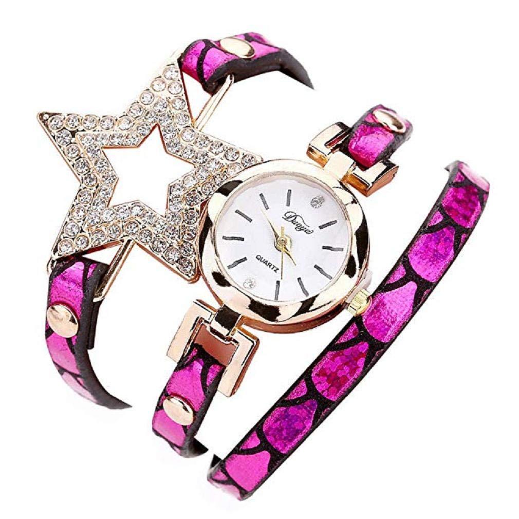 Reloj para Mujer, Brazalete de Relojes Cuero con pedrería a la Venta Liquidación Relojes de señora Relojes de Pulsera para Mujeres (Rosa Caliente): ...