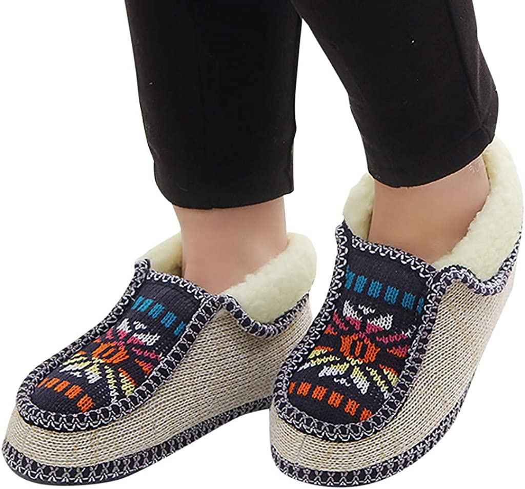 Yourgod Mens and Womens Knitted Flowers Plus Velvet Thick Warm Casual Shoes Leisure Warm Cotton Shoes Mens Women Knitted Flowers Print Shoes