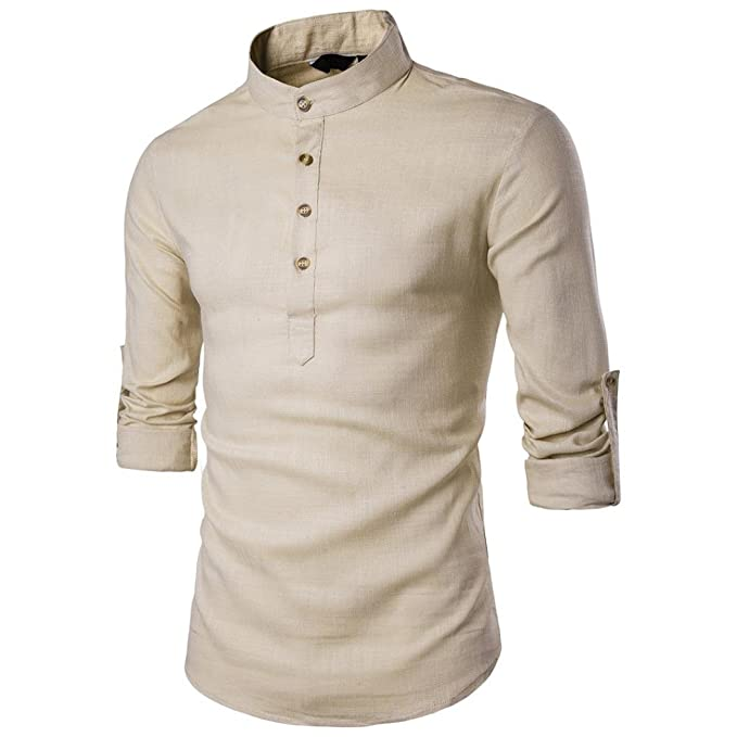 c416f226f21 Allywit Men s Vintage Round Collar Chinese Style Henley Linen Shirts Long  Sleeve Tops (Beige