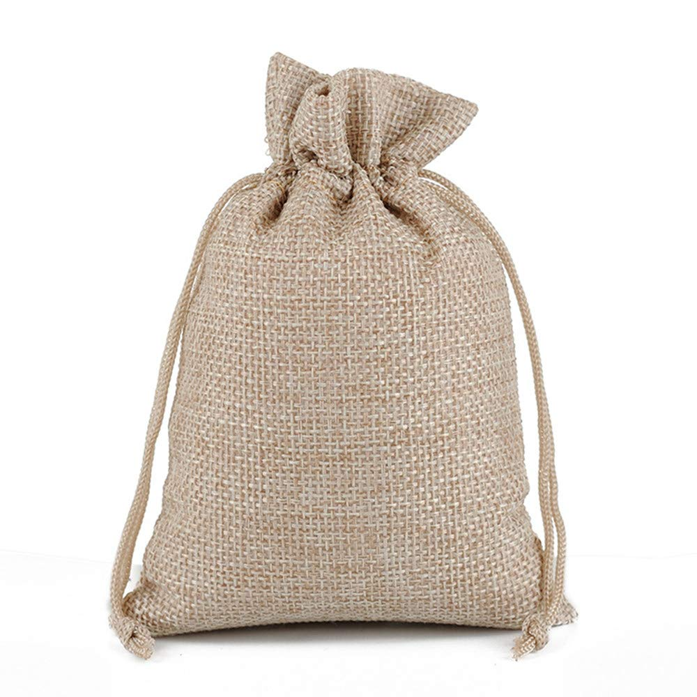 MELUOGE Burlap Bags Cotton Linen Bags Jewelry Treasure Pouches 6''x8'' Drawstring Pouches Gift Bag (10, Light Coffee)