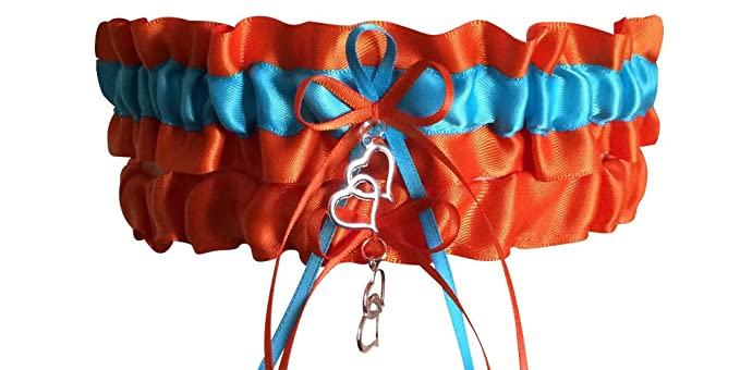 13b6d11ca Just Fun Garters Orange And Turquoise Wedding Garter Set Bridal