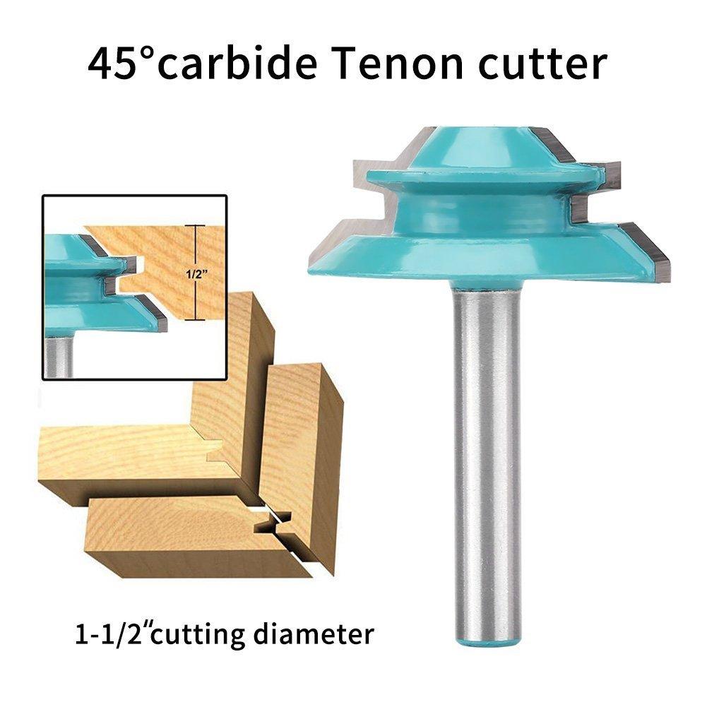 Mèche pour tiges et rails, 1/4' mèche pour tiges de pour portes d'armoire, tondeuse à tenons à 45 degrés 1/4 mèche pour tiges de pour portes d'armoire tondeuse à tenons à 45 degrés WALFRONT