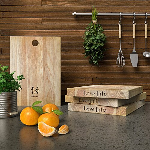 Personalized Wooden Chopping Board with Zodiac - Gemini design - Solid Oak, Ideal for Chopping / Cutting or Presenting your food - A Perfect Gift for Friends and Loved Ones.