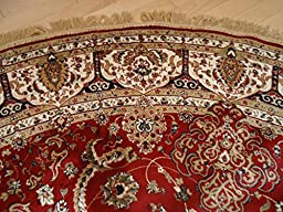 Stunning Silk Persian Area Rugs Traditional Design Red Tabriz 6x6 Round Shape Rug Red Circle Rugs Red Silk Traditional Round Rugs Living Room (6ft Round Shape)