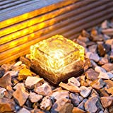 Solar Powered Warm White LED Buried Lights Frosted Ice Cube Rock Glass Brick Lighting Solar-Powered Glass Brick Path Light - Heavy Duty Outdoor Lights