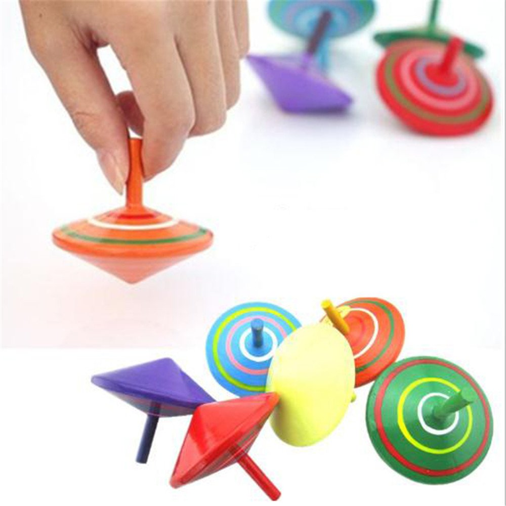 6 Pcs Set of Handmade Painted Wood Spinning Tops, Wooden Toys Educational Toys Kindergarten Toys Standard Tops