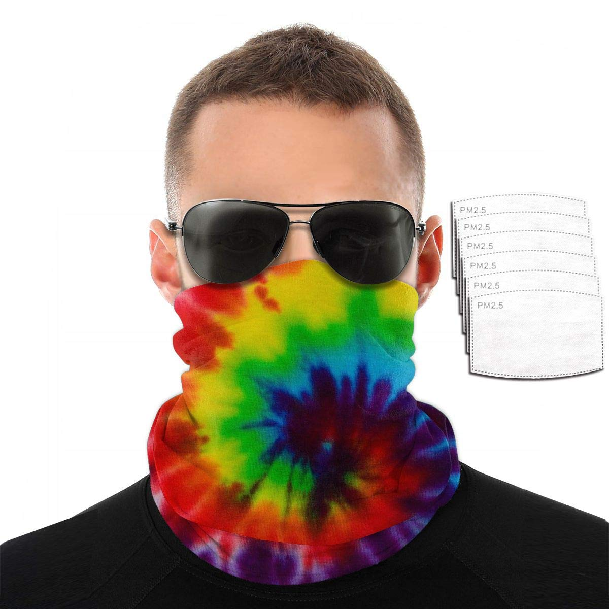 Tie Dye Unisex Neck Gaiter Face Mask with 6 Filters, UV Protection Bandana Balaclava, Dustproof Scarf Headwear Headband for Motorcycle Riding Cycling