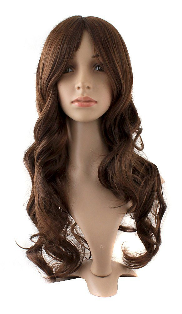 MapofBeauty Charming Synthetic Fiber Long Wavy Hair Wig Women's Party Full Wigs (Brown)