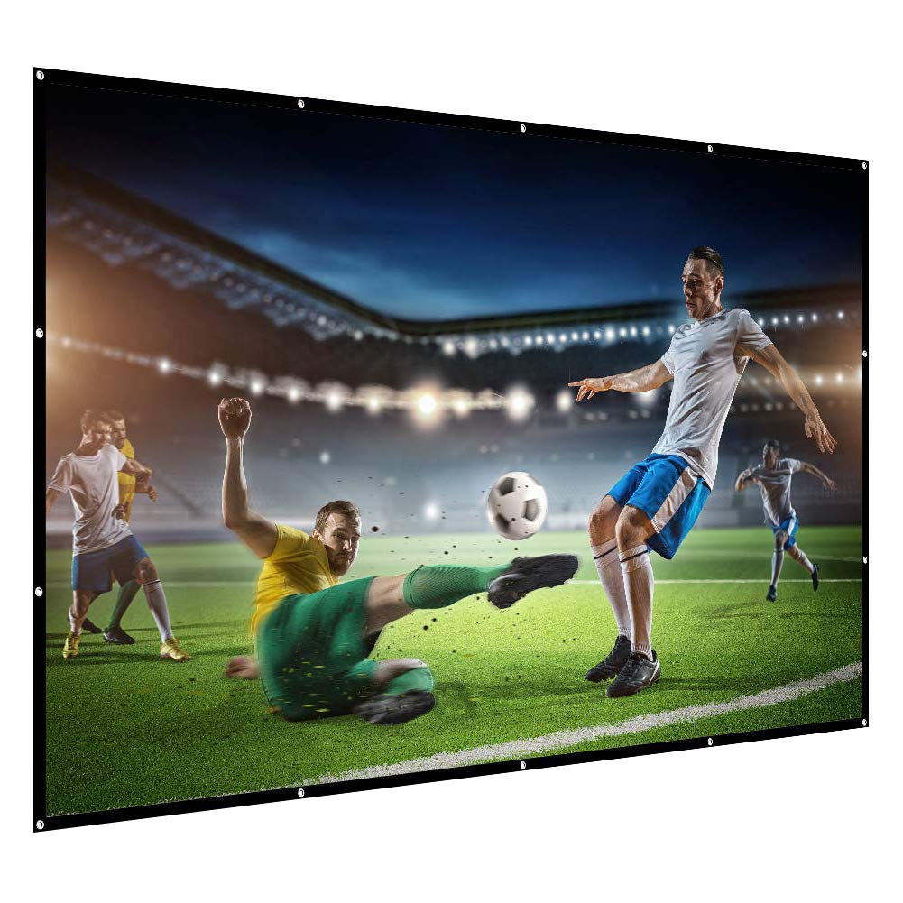 Projection Screen, Baililai 120-inch Portable Projector Screen 16:9 4K Ultra HD Foldable Anti-Crease for Home Cinema Theater Outdoor Movie Presentation and Education (2 Ropes/16 Pieces Hooks/Carry Bag