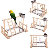 "QBLEEV Bird's Stand Playground Climb Wooden Perches (Bird Stand(14.4"" L 9"" W9.7 H))"