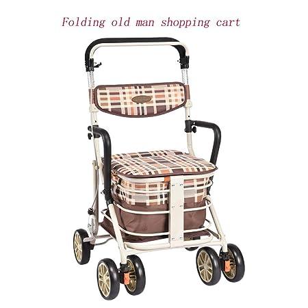 Mhxzkhl Carro De Compras Plegable para Ancianos, Cuatro ...