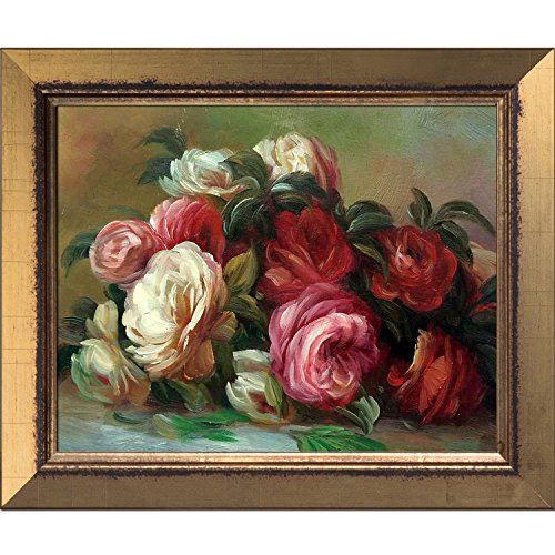 overstockArt La Pastiche Discarded Roses by Renoir Painting with Burnished Gold Frame I, Small