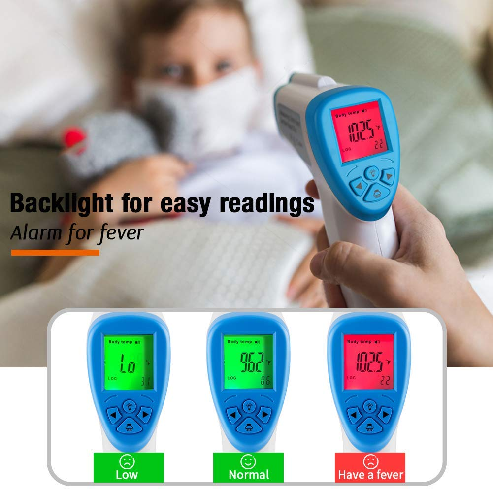 with LED Backlit Display Precise Digital Non-Contact Infrared Forehead Thermometer Gun Suitable for Infants and Adults Portable LCD Display Instant Results Laser