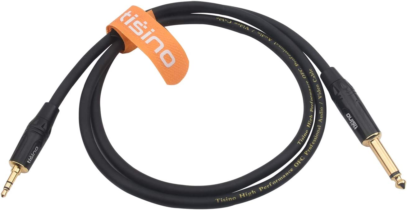 Mono to Stereo 3.5mm - 3 feet TISINO 1//4 inch TS Mono to 1//8 inch TRS Stereo Interconnect Cable