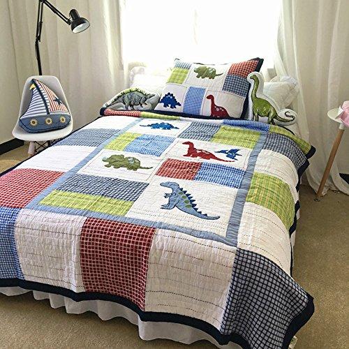 Abreeze 100% Cotton Dinosaur Patchwork Quilt Set For Boys Children Bedspreads Twin (Dinosaur Quilt)