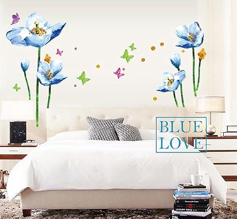 ufengke® Fiori Blu e Farfalle Adesivi Murali, Camera da Letto ...