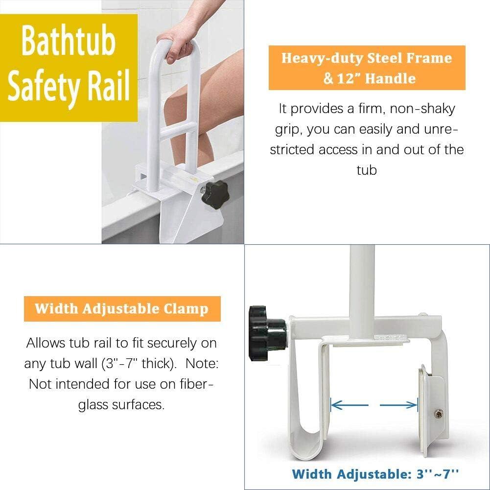 KXT Premium Bathroom Tub Safety Rail for Seniors, Clamp Railing Bath Support Adjustable Shower Hand Grip Handle Assist Grab Bar: Health & Personal Care