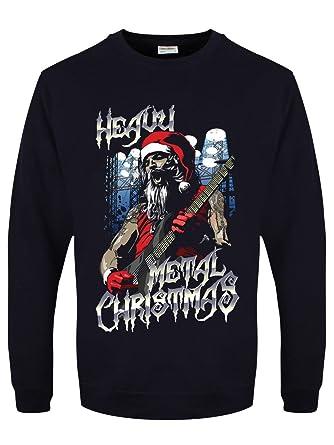 Heavy Metal Christmas.Grindstore Men S Heavy Metal Christmas Navy Jumper Amazon