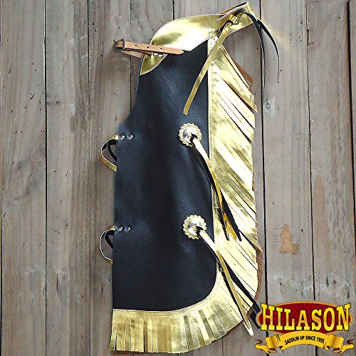 HILASON CCH873Y WESTERN LEATHER KIDS JUNIOR YOUTH PRO RODEO BULL RIDING CHAPS - Bull Riding Chaps