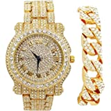 Bling-ed Out Round Luxury Mens Watch w/Bling-ed Out Cuban Bracelet - L0504B - Cuban Gold