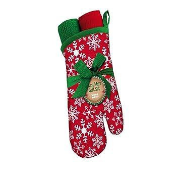 Juego de manopla para horno y toallas de plato de regalo de Navidad: Amazon.es: Hogar