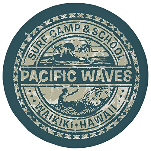 2.95 Ft Round Bathroom Rug,Modern,Pacific Waves Surf Camp and School Hawaii Logo Motif with Artsy Effects Design,Khaki Slate Blue,Flannel Microfiber Non-slip Soft Absorbent Kitchen Floor Bath Mat Carp (Waves Surf Camp)
