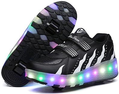 Roller Skate Sneakers >> Amazon Com Ubella Kids Girls Boys Led Light Up Shoes Double Wheels