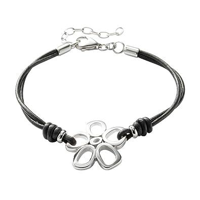 Kundschaft zuerst zuverlässiger Ruf neues Konzept Fossil Damen-Armband Blume Leder Schwarz 16-19.5 cm JF84998040