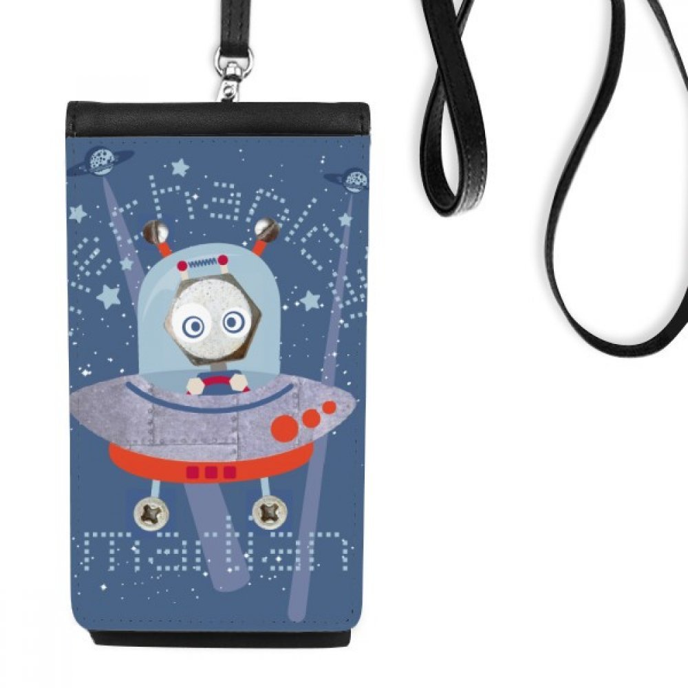 Universe And Alien Space Travel Faux Leather Smartphone Hanging Purse Black Phone Wallet Gift