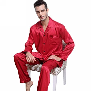 Mens Silk Satin Pajamas Set Sleepwear Loungewear Striped S~4XL Plus at Amazon  Men s Clothing store  2c46fa02c