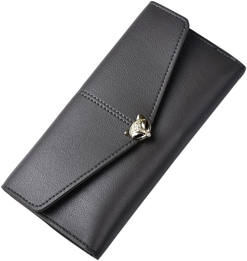 Dark Gray Womail Women Fashion Leather Wallet Card Coin Holder Clutch Handbags