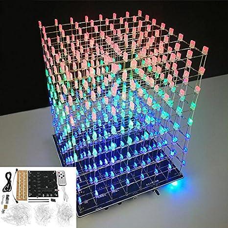 DIY Square 8x8x8 3D Light Electronic Cube Kit Blue Red LED Spectrum Board ILS